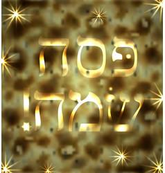 Merry passover the inscription in hebrew golden vector