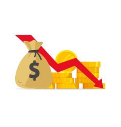 Money loss flat cartoon cash vector