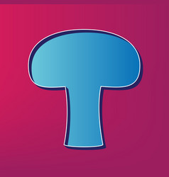 Mushroom simple sign blue 3d printed icon vector