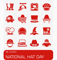 national hat day icon set vector image