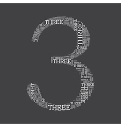 number three created from text vector image