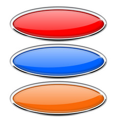 Oval glass buttons with metal frame colored set vector