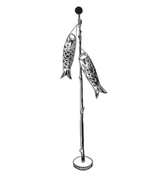 Paper koi birthday pole the fish banners are vector