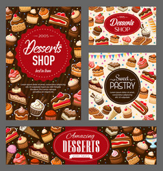 Pastry desserts and sweet bakery food vector