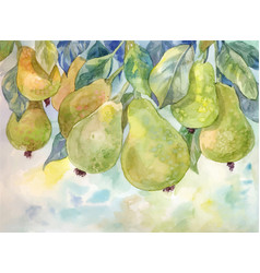 Pears on the tree watercolor autumn background vector