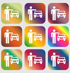 Person up hailing a taxi icon Nine buttons with vector