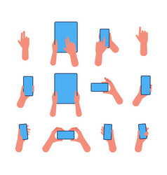 phone hand hold smartphones and tablets pointing vector image