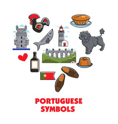 portuguese symbols heart architecture and food vector image