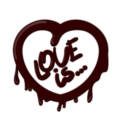 Realistic chocolate heart splash love is vector
