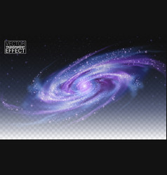 Realistic galaxy transparent background effect vector