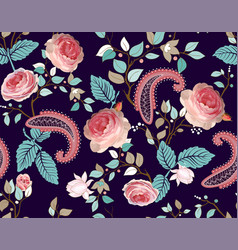 roses pattern colorful seamless floral vector image