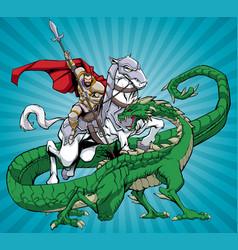 saint george slaying dragon vector image