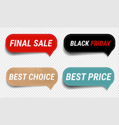 Sale labels set isolated transparent background vector