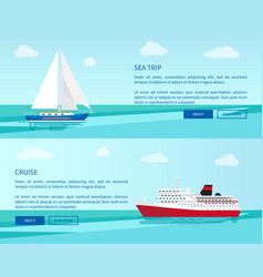 sea trip on sailboat and luxurious cruise on liner vector image