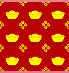 seamless pattern gold ingots and coins on red vector image