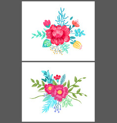 set cute floral patterns on vector image