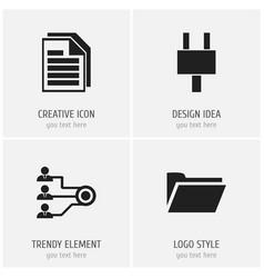 Set of 4 editable bureau icons includes symbols vector