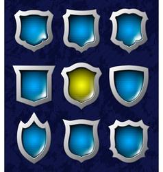 Set of shiny shields vector image