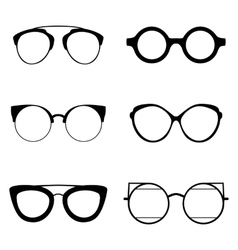 Set of various glasses Stylish sunglasses for vector image