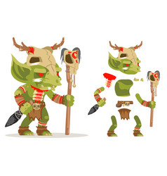 Shaman goblin dungeon dark wood monster evil vector
