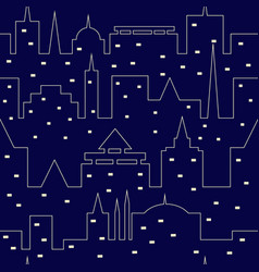 silhouette of the night city seamless pattern vector image