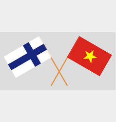 Socialist republic of vietnam and finland flags vector