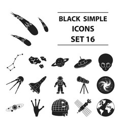 space set icons in black style big collection vector image