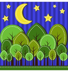 spring forest at night dashed style vector image