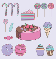 Sweets colorful set for design vector
