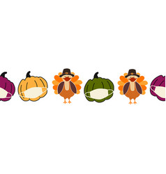 thanksgiving turkey and pumpkins wearing a face vector image