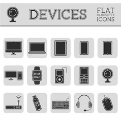 Trendy silhouette pc computer mobile gadgets vector