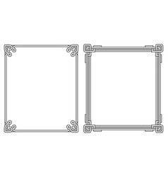 Two photoframes with decor elements at each corner vector