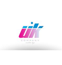 uk u k alphabet letter combination pink blue bold vector image