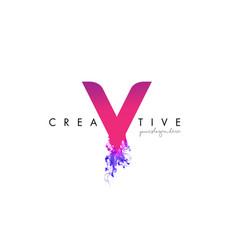 V letter logo design with ink cloud flowing vector