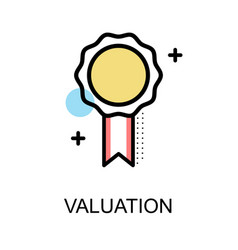 valuation icon with medal on white background vector image