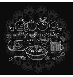 Vintage chalk morning tea background over vector image