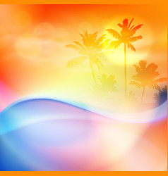 water wave and island with palm trees vector image