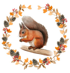 Watercolor realistic red squirrel in a fall wreath vector