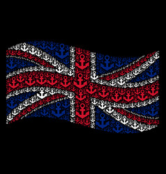 Waving uk flag collage of anchor items vector