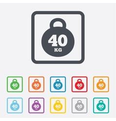 Weight sign icon 40 kilogram kg Sport symbol vector