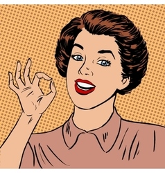 Woman showing okay gesture well the quality is vector