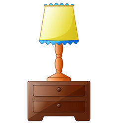 Wooden bedside table with lamp isolated on a white vector