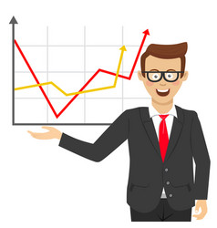 young businessman showing positive line charts vector image