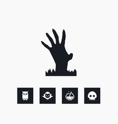 zombie hand icon halloween set simple sign vector image