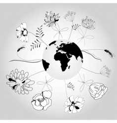 Globe with flowers vector