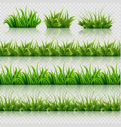 green grass seamless borders set vector image