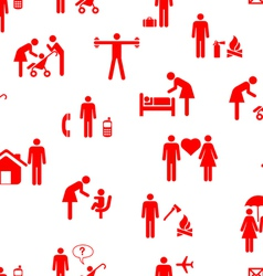 Icons - People seamless wallpaper vector image vector image