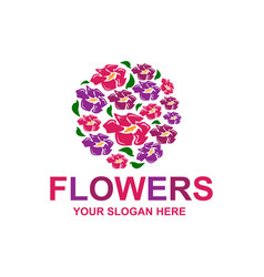 Stylish flowers logo vector