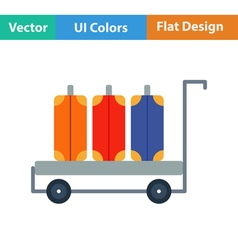 Flat design icon of luggage cart vector image