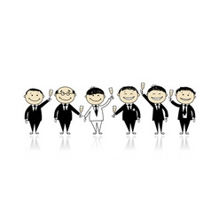 Groom with friends stag party for your design vector image